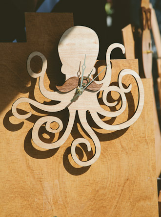 Lasertcut Wood Clock Cthulhu with Moustache