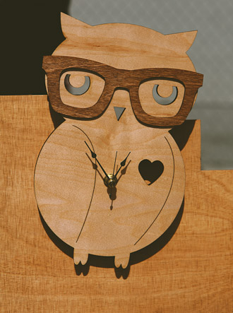 Owl with Glasses Wood Clock